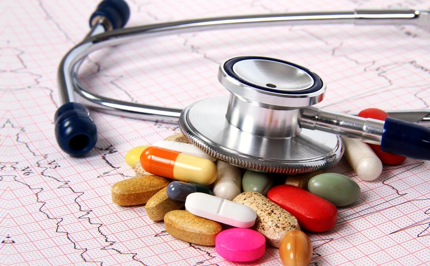 stethoscope and medicines